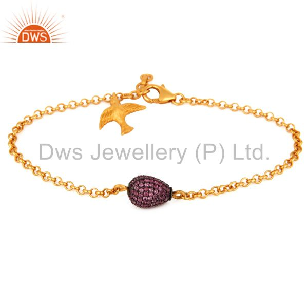 925 Sterling Silver Ruby Genuine Gemstone Pave Beads Chain Beautiful Bracelets