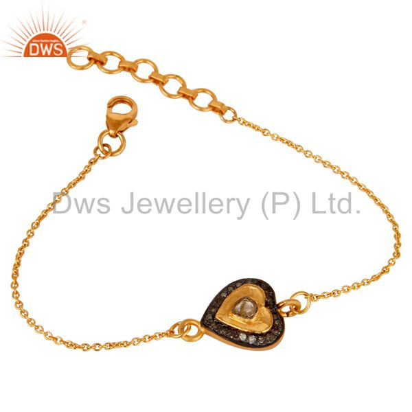 Diamond Polki and 18K Gold Plated Sterling Silver Heart Shape Chain Bracelet