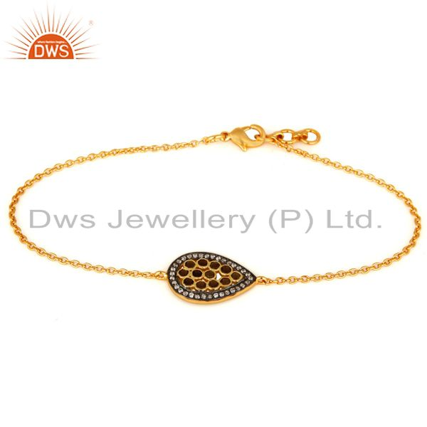 14k gold plated sterling silver smoky quartz & cubic zirconia chain bracelet