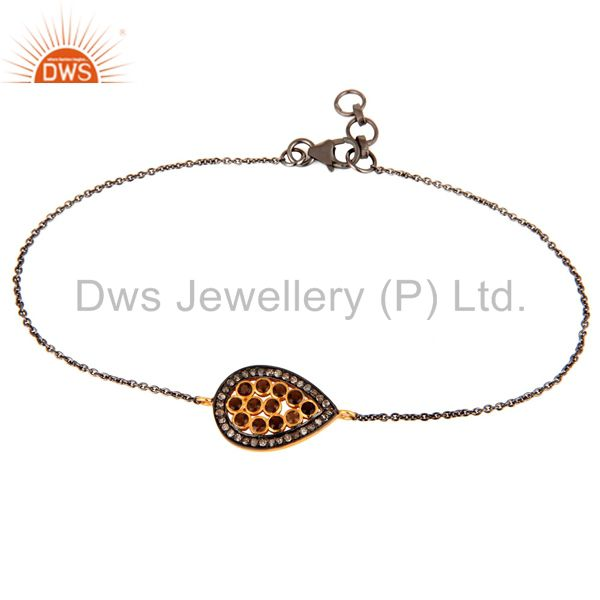 Oxidized 925 Sterling Silver Handmade Pave Diamond & Smokey Chain Bracelet