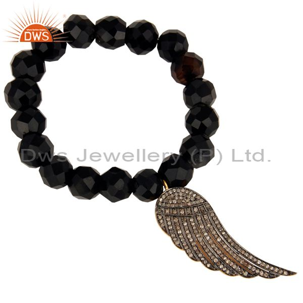 Black Onyx 925 Silver Pave Diamond Feather Angel Wings Charm Designer Bracelet