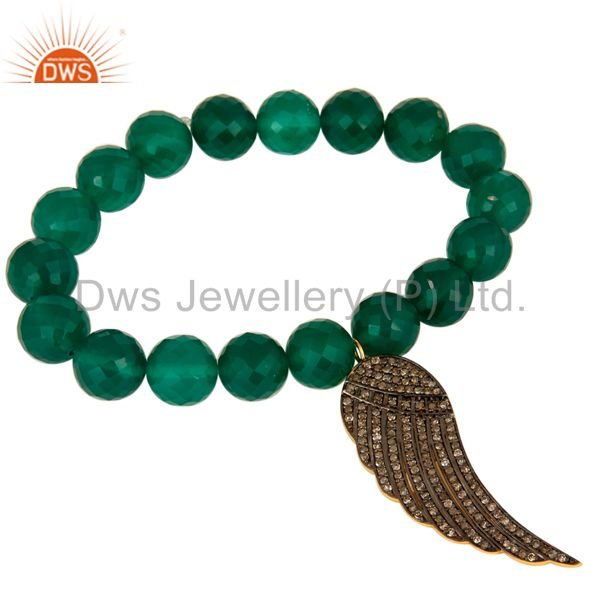 Green Onyx Gemstone Beaded Stretch Bracelet With Pave Diamond Wing Charms