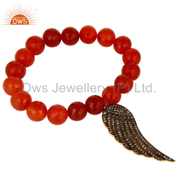 Faceted Red Onyx Gemstone Stretch Bracelet Silver Diamond Pave Angel Wings Charm