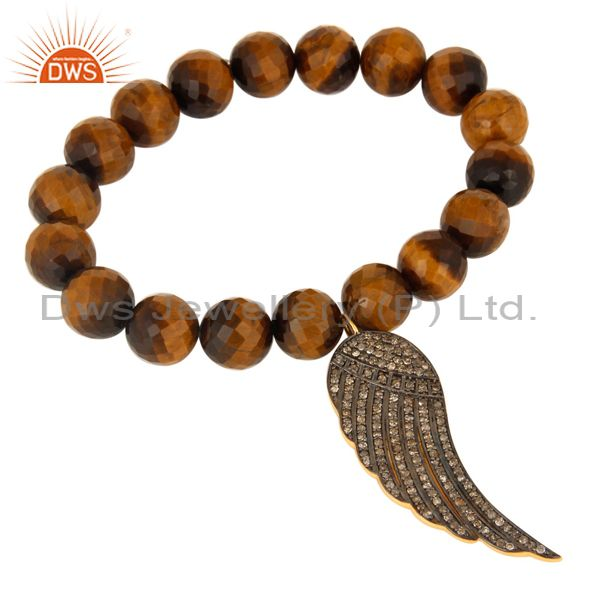 Pave Diamond Angel Wing 18k Gold On Sterling Silver Tiger Eye Beded Bracelet