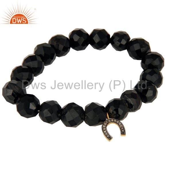 925 Silver Pave Diamond Block Letter Charm U Faceted Black Onyx Beads Bracelet