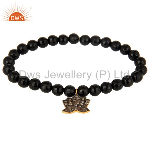 18K Gold On 925 Silver Black Onyx Pave Diamond Lotus Flower Charm Yoga Bracelet