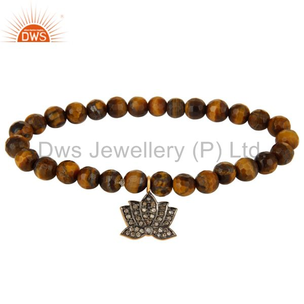 Faceted Tiger Eye Beads Stretch Bracelet With Pave Diamond Lotus Flower Charm