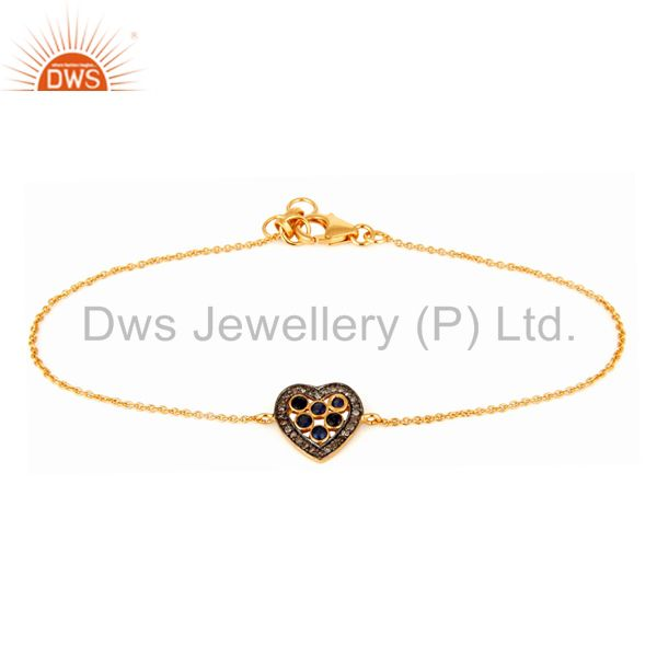 Pave Diamond Blue Sapphire Heart Design Charm Bracelet In 18K Gold Over Silver