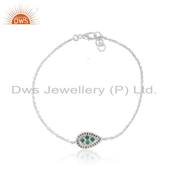 Natural Emerald Gemstone Diamond Sterling Fine Chain Bracelet