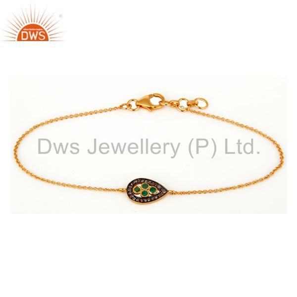 18K Gold On Sterling Silver Diamond Pave Emerald Gemstone Fashion Chain Bracelet