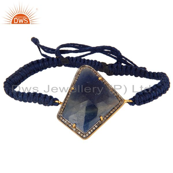 Sapphire Gemstone Diamond Pave Connector Charm Macrame Thread Bracelet Jewelry