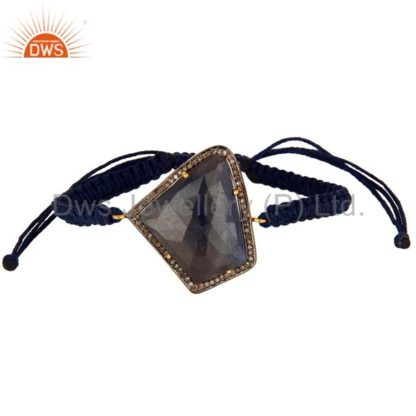 925 Silver Faceted Blue Sapphire Pave Diamond Macrame Adjustable Unisex Bracelet