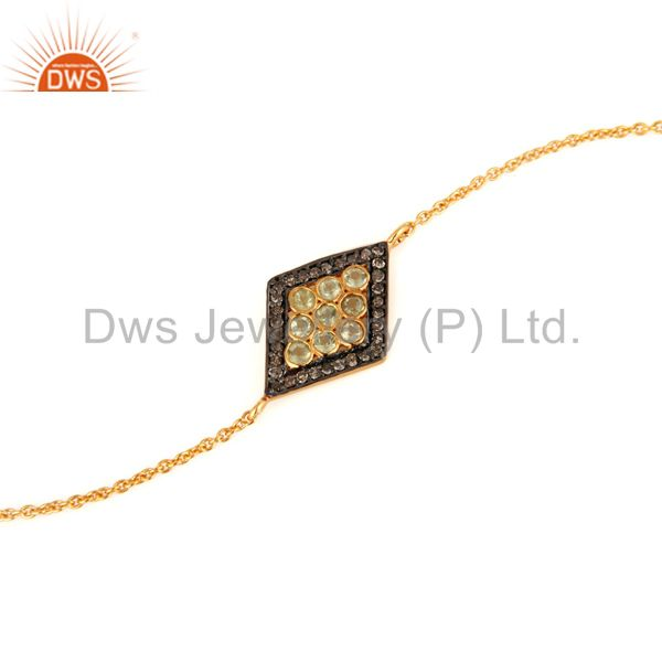 Pave Set Diamond And Peridot 925 Sterling Silver Chain Bracelet - Gold Plated