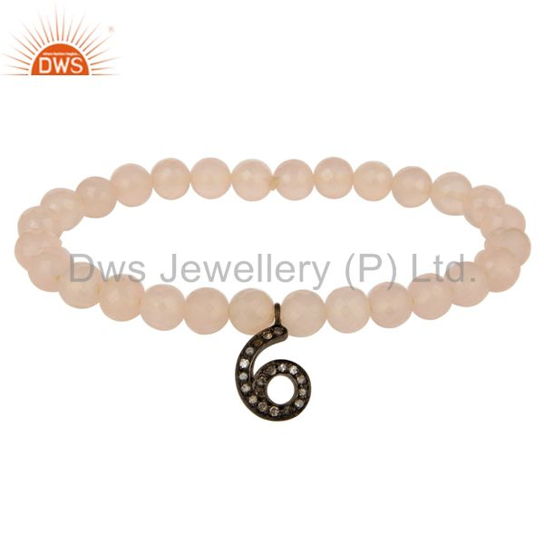 Rose Chalcedony Stretch Bracelet With Pave Set Diamond 6 Number Charms