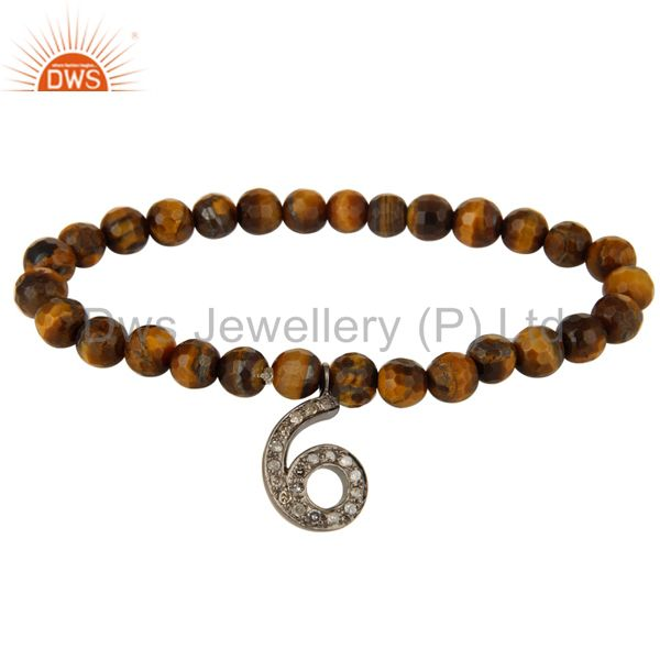 6 Number Pave Set Diamond Charm And Faceted Tiger Eye Beads Stretch Bracelet