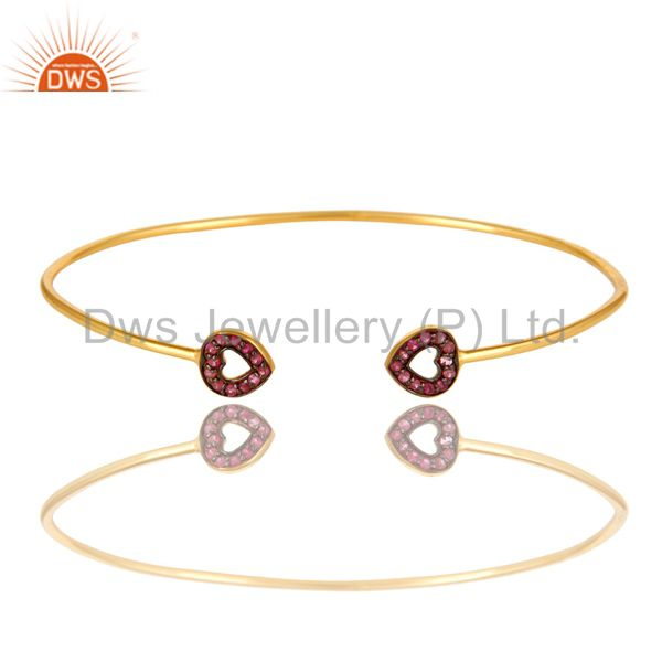 Pink sapphire gemstone accent heart bangle bracelet in 18k gold over silver