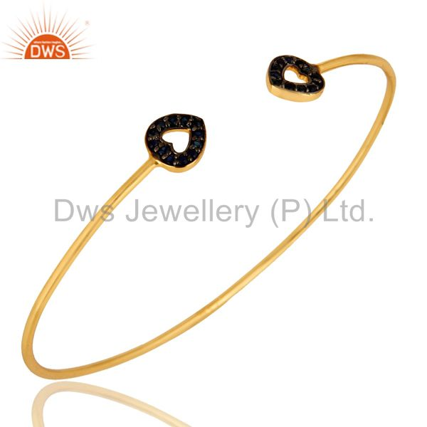 14K Gold Plated Sterling Silver Blue Sapphire Heart Adjustable Stack Bangle
