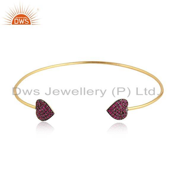 Heart shape natural ruby beaded gemstone gold plated cuff bangle