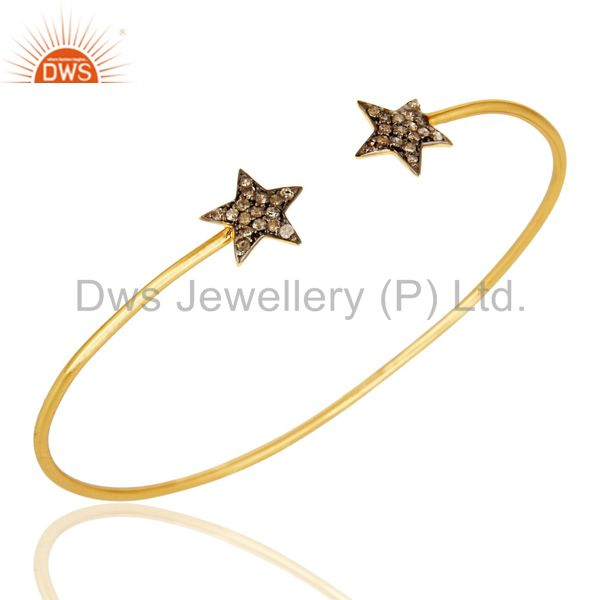 Pave Set Diamond Star Adjustable Open Bangle Made In 14K Yellow Gold Over Silver