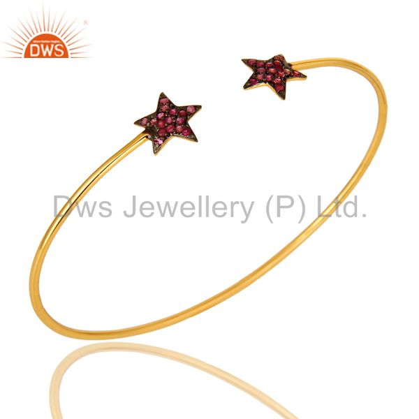 18K Yellow Gold Plated Silver Pink Sapphire Star Stackable Open Bangle