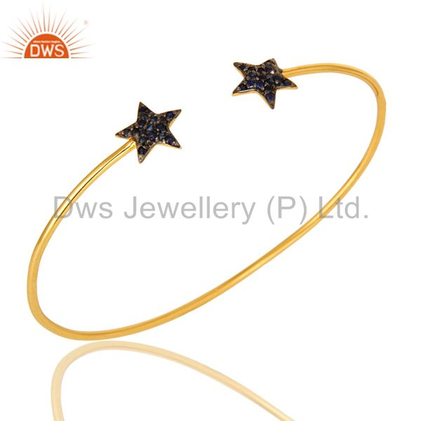 18K Yellow Gold Plated Silver Blue Sapphire Star Stacking Open Bangle