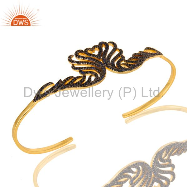 18k yellow gold plated sterling silver blue sapphire palm bracelet bangles