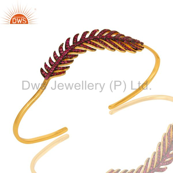 Ruby gemstone leaf designer wedding palm bracelet made in 14k gold over silver