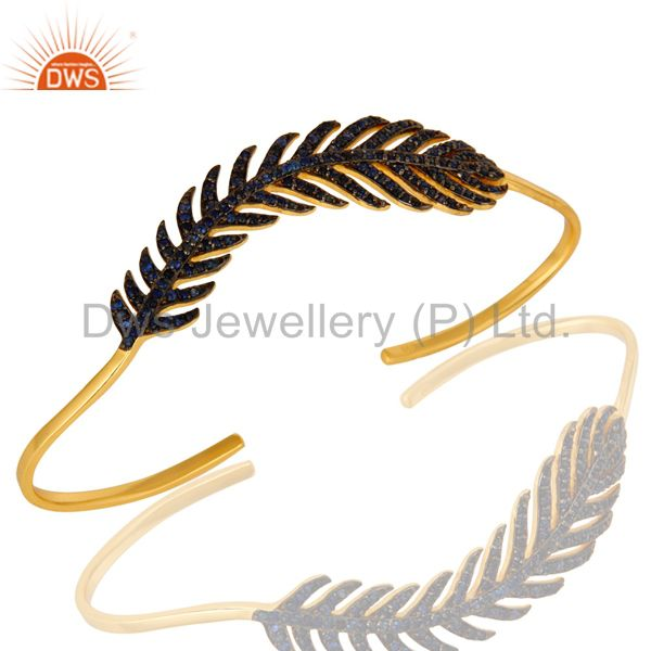 Blue Sapphire Leaf Palm Bracelet Made In 18K Gold Over Sterling Silver