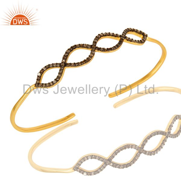 Pave set diamond infinity palm bracelet made in 18k gold over sterling silver