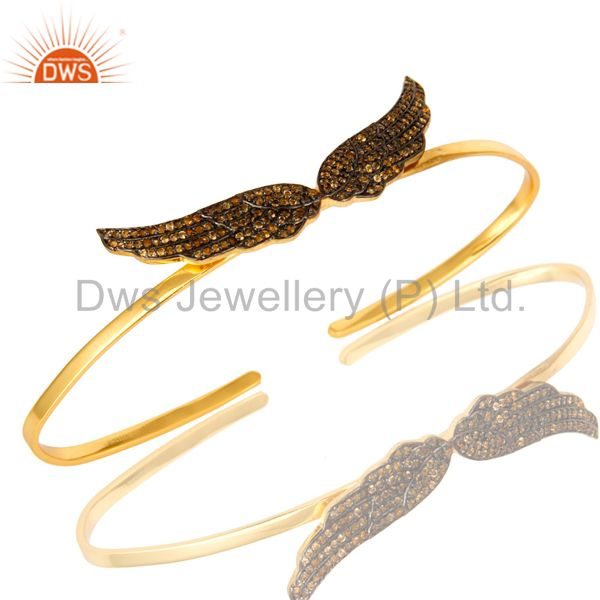 Shiny 18K Gold Over Sterling Silver Citrine Gemstone Angel Wing Bangle Bracelet