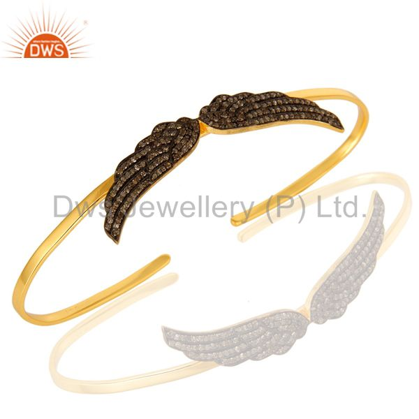 Pave Set Diamond Angel Wing Cuff Bangle Bracelet Made In 18K Gold Over Silver