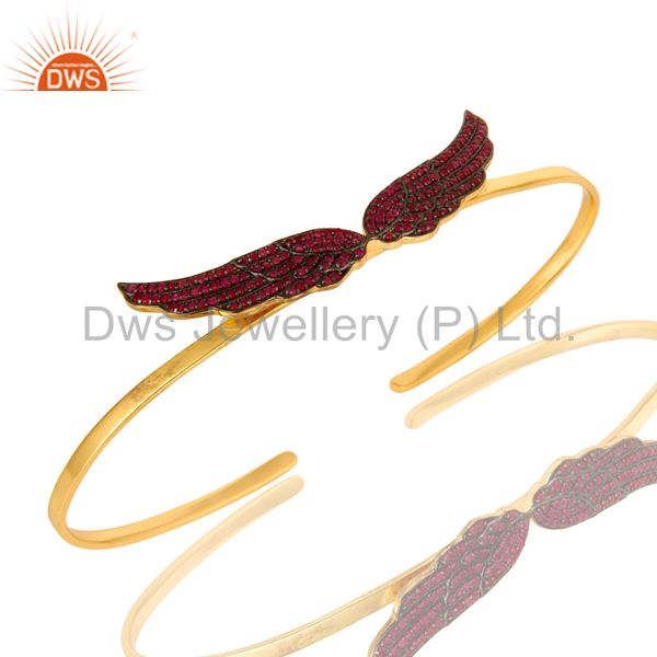 Ruby Gemstone Gemstone Angel Wing Cuff Bangle Made In 14K Gold Over Silver