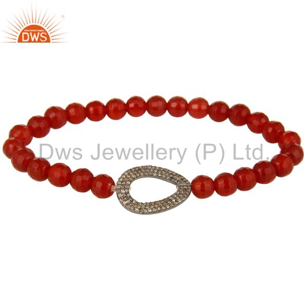 Pave Set Diamond Sterling Silver Open Charms Carnelian Beaded Stretch Bracelet