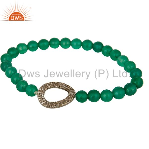 Natural Green Onyx Faceted Gemstone Stretch Bracelet With Pave Set Diamond Charm
