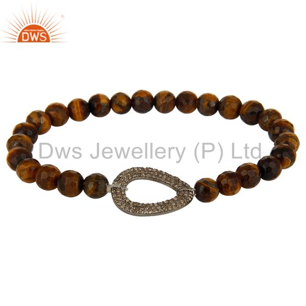 Faceted Tiger Eye Gemstone Stretch Bracelet With Pave Set Diamond Silver Charms