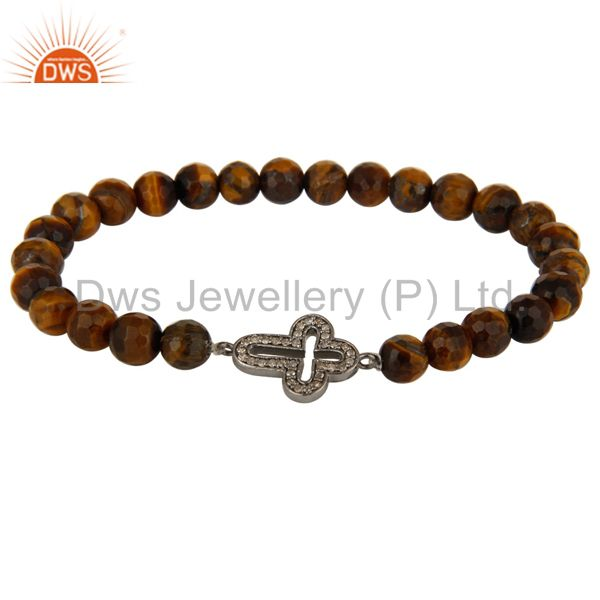 Faceted Tiger Eye Gemstone Stretch Bracelet With Pave Set Diamond Cross Charms