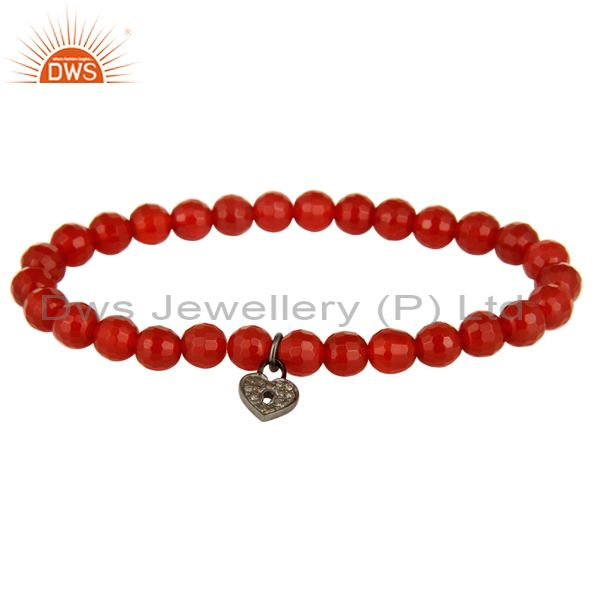 925 Sterling Silver Pave Diamond Lock Charms Carnelian Stretch Bracelet