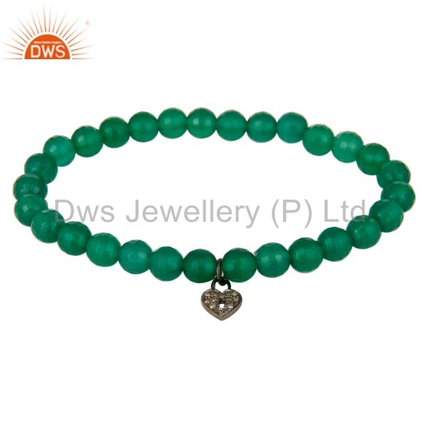 Faceted Green Onyx Beads 925 Silver Pave Diamond Lock Charms Stretch Bracelet