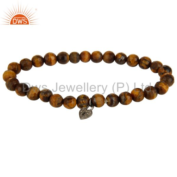 Faceted Tiger Eye Gemstone Beads Pave Diamond Silver Lock Charms Bracelet