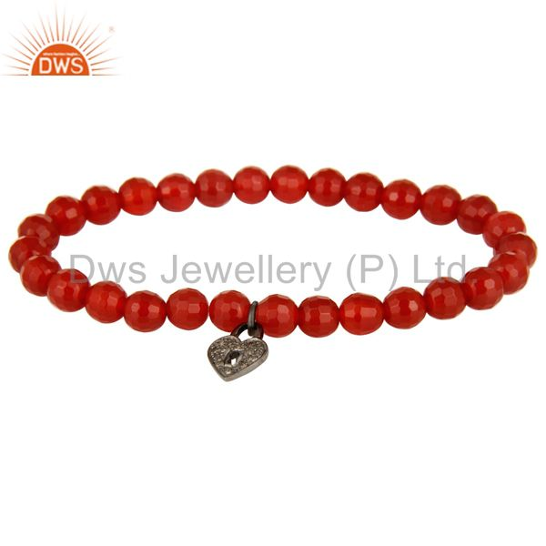 6mm Faceted Carnelian Beads 925 Silver Pave Diamond Lock Charms Stretch Bracelet
