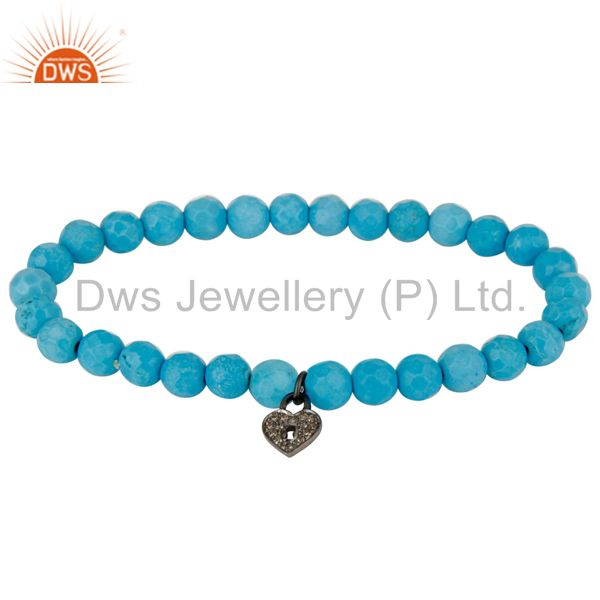 Pave set diamond silver lock charm turquoise gemstone beaded stretch bracelet