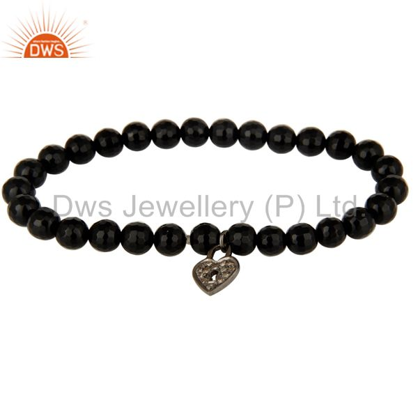 6mm Black Onyx Gemstone Beads Stretch Bracelet With Silver Pave Diamond Charms