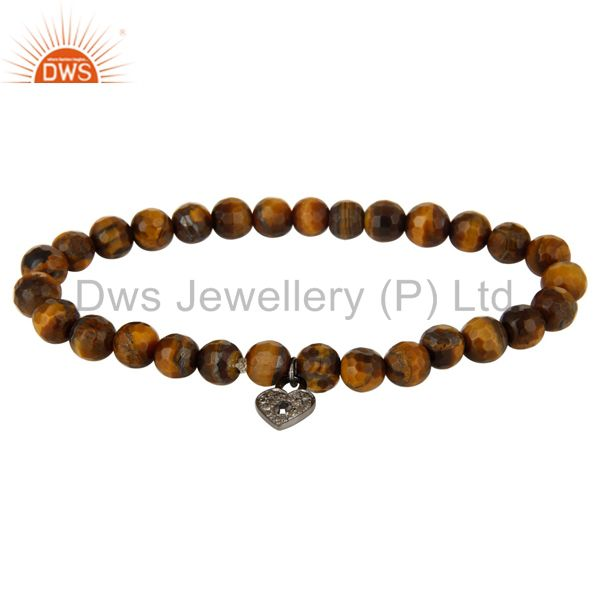 Pave Diamond Silver Lock Charms Faceted Tiger Eye Beads Stretch Bracelet