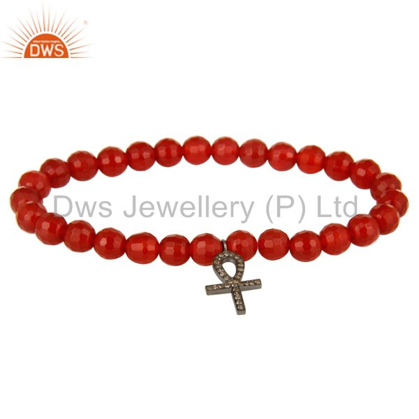 "Faceted Carnelian Gemstone Stretch Bracelet With Pave Diamond ""ANKH"" Cross Charm"