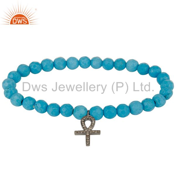 Turquoise Gemstone Beaded Pave Set Diamond Silver Ankh Charm Stretch Bracelet