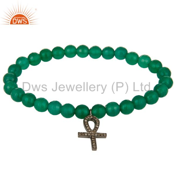 Pave Diamond Sterling Silver Ankh Cross Charms Green Onyx Stretch Bracelet
