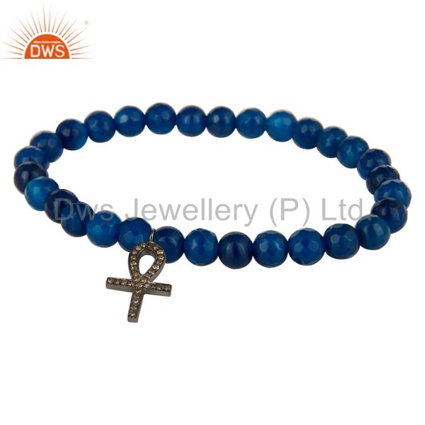 "Sterling Silver Pave Diamond ""ANKH"" Cross Charm Blue Aventurine Stretch Bracelet"