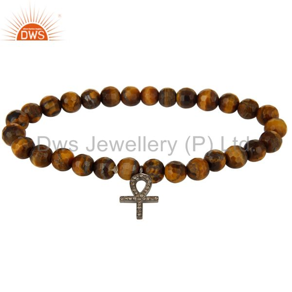 Pave Diamond Sterling Silver Ankh Charms Tiger Eye Gemstone Bracelet