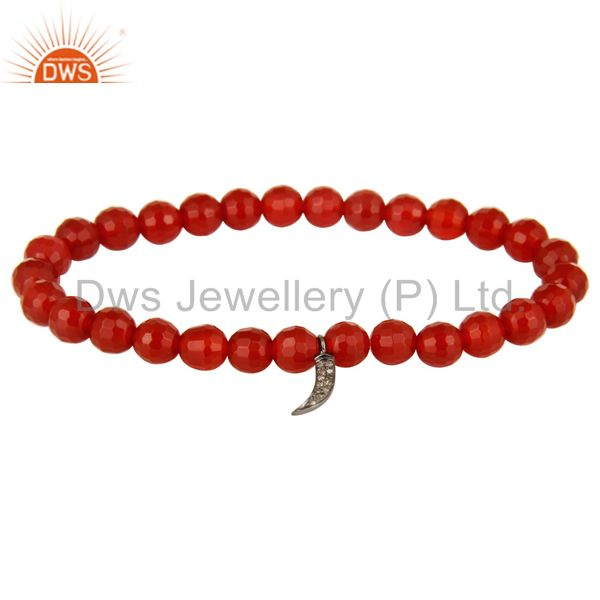 Natural Carnelian Beads 925 Sterling Silver Diamond Shark Tooth Charm Bracelet