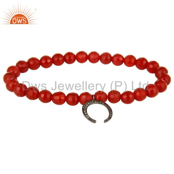 925 Sterling Silver Pave Diamond Horseshoe Charms Carnelian Beads Bracelet